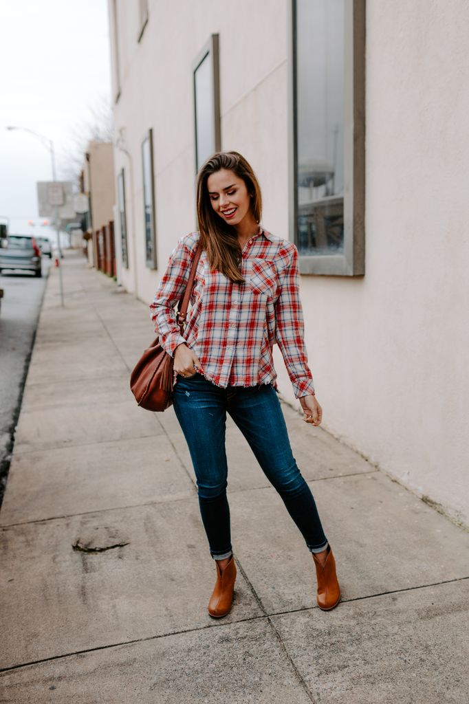 Fringe Checked Button Up Top