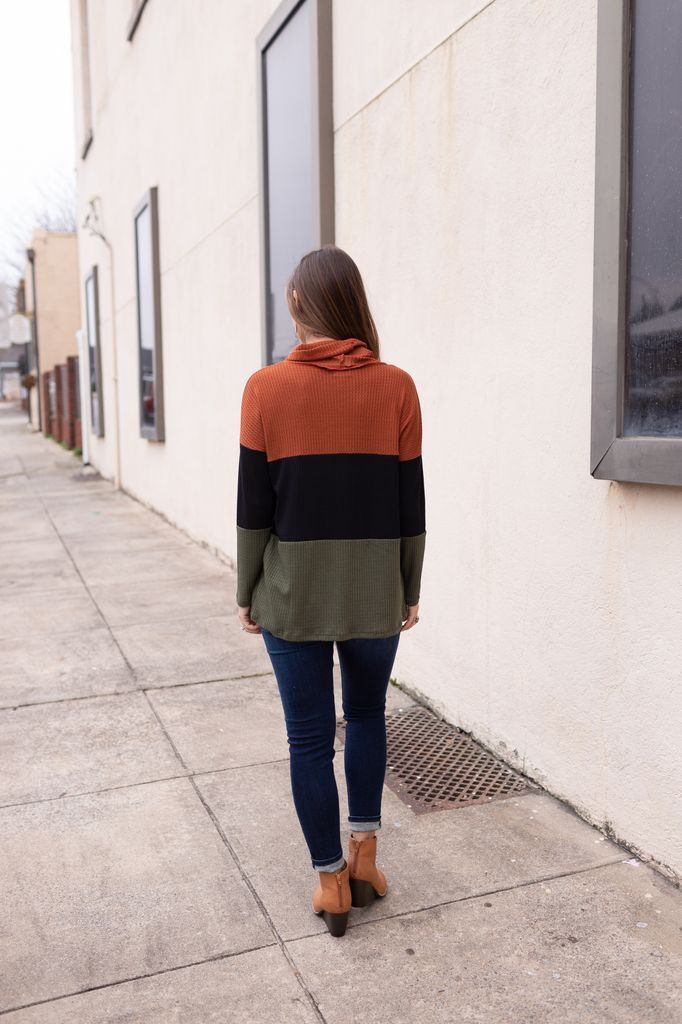 Thermal Waffle Color Block Top