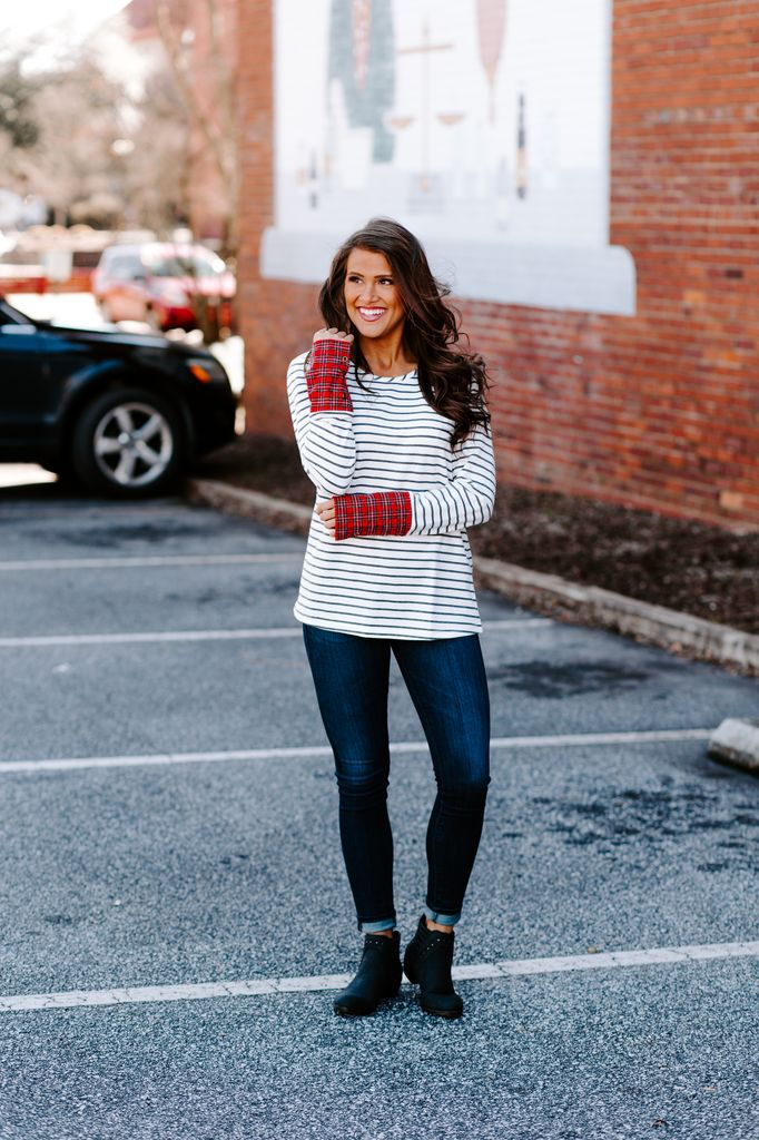 Striped Top with Plaid Cuff