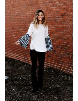 Slant Pleat Contrast Sleeve Sweater