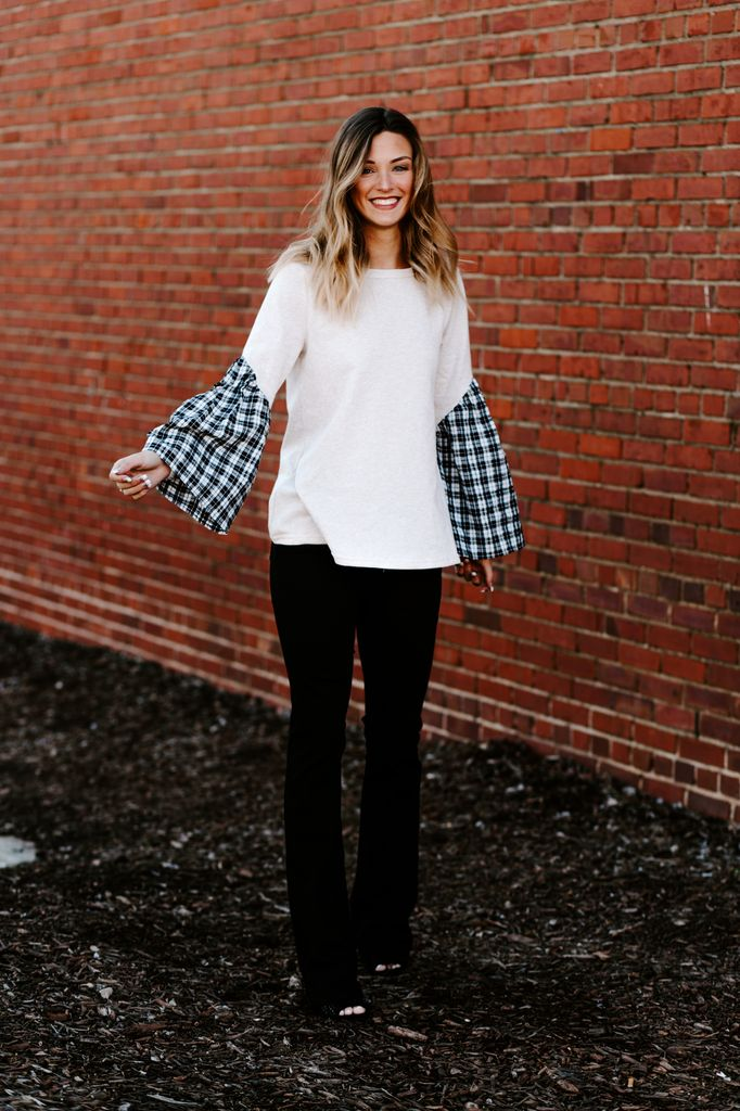 Slant Pleat Contrast Sleeve Sweater