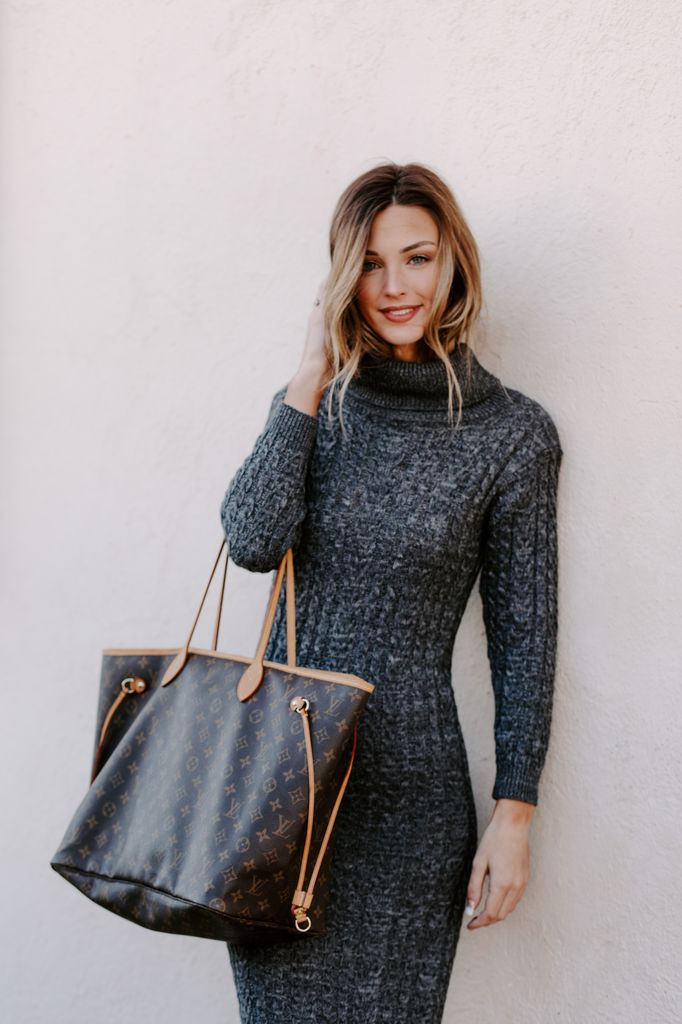 Chunky Cable Knit Turtleneck Midi Sweater  Dress