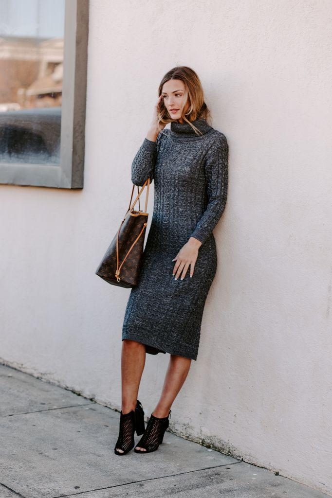 Chunky Cable Knit Turtleneck Midi Sweater Dress