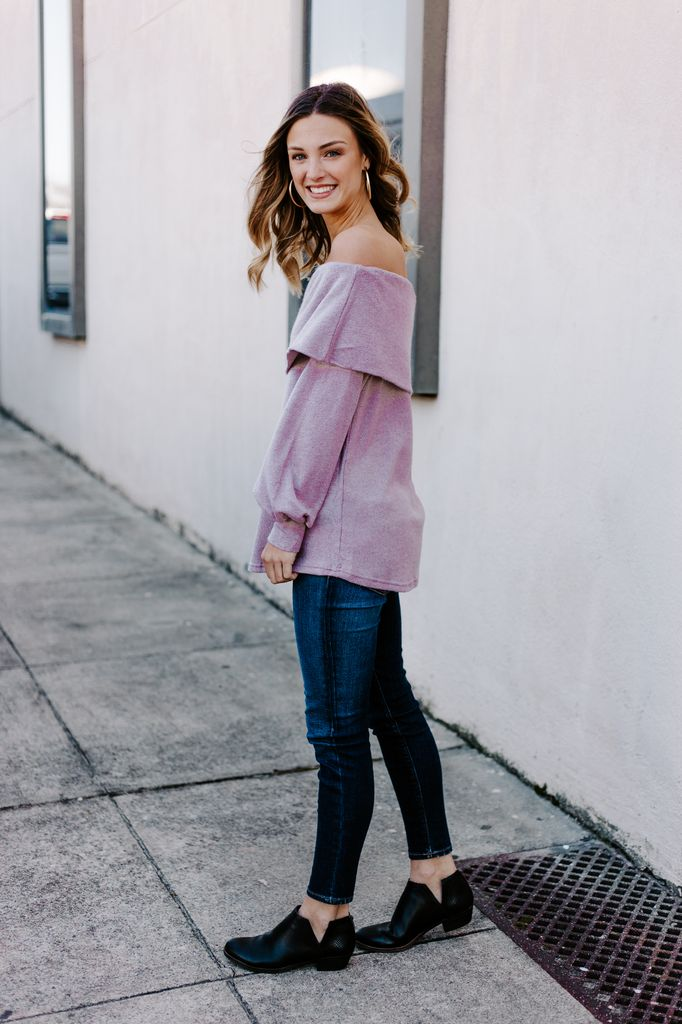Long Sleeve Off Shoulder Sweater