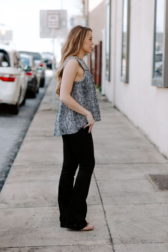 Snake Print Pleated Top