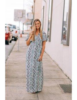 Flutter Sleeve Wrap Front Maxi Dress