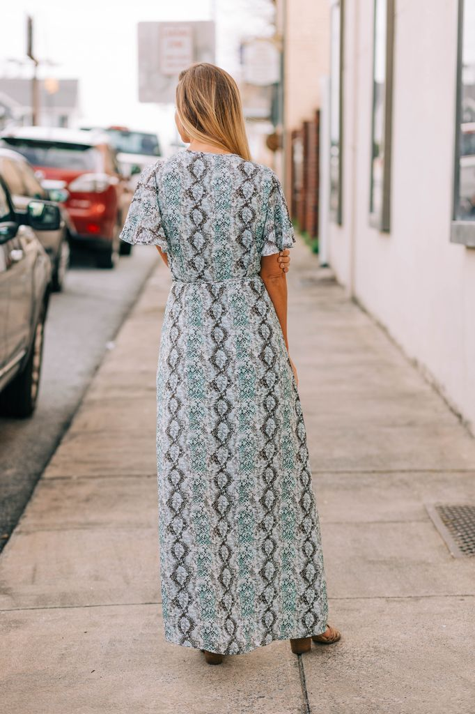 Flutter Sleeve Wrap Front Maxi Dress