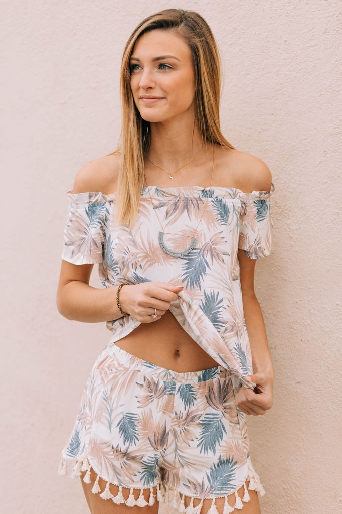Karlie Tropical Leaf Bustier Top