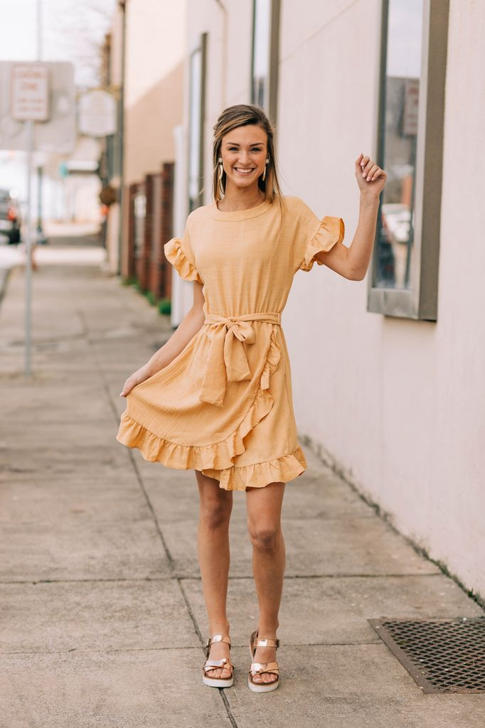Ruffle Sleeve Belted Dress