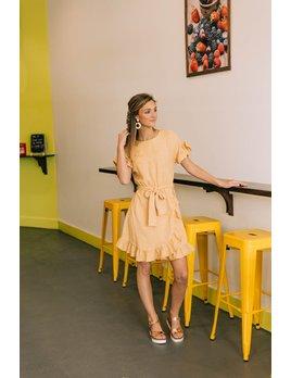 Ruffle Sleeve Belted Dress