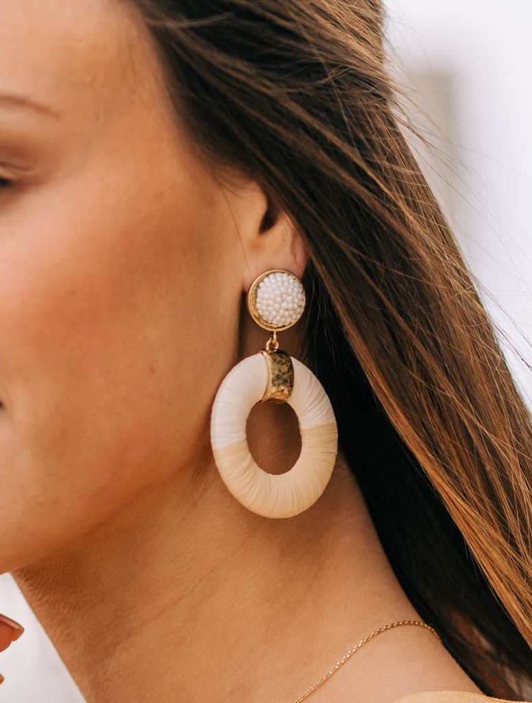 Raffia Wrapped Wedge Earrings