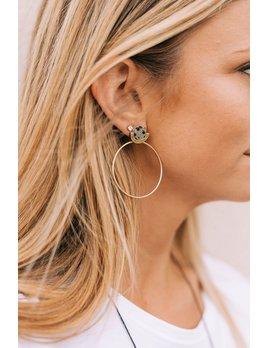 Circle Stone & Rings Earrings