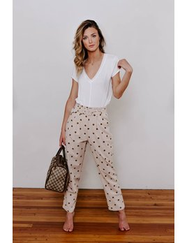 Polka Dot Belted Trouser Pants
