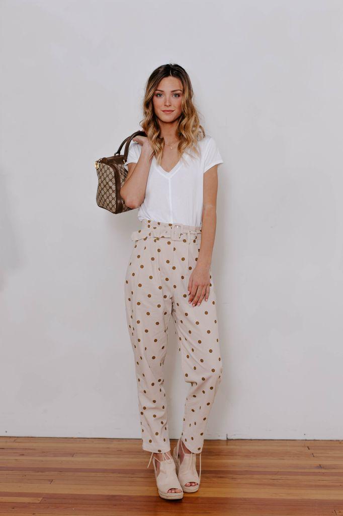 Polka Dot Belted Trouser Pants