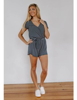 Z Supply The Micro Stripe Surplice Romper