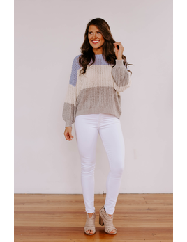 She & Sky Color Blocked Light Sweater