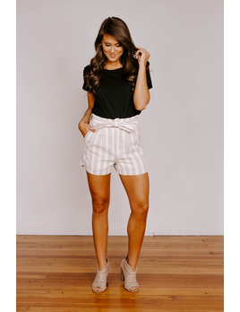 She & Sky Striped Cuffed Shorts with Sash