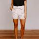 She & Sky Striped Cuffed Shorts with Sash
