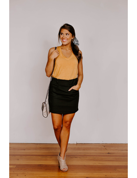 She & Sky Mini Skirt with Elastic Waist