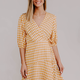 Wrap Style Quarter Sleeve Dress