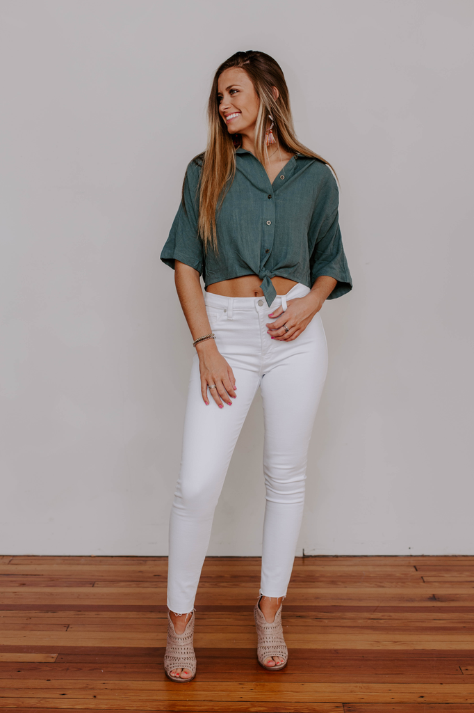 Tie Front Cropped Button Down Shirt