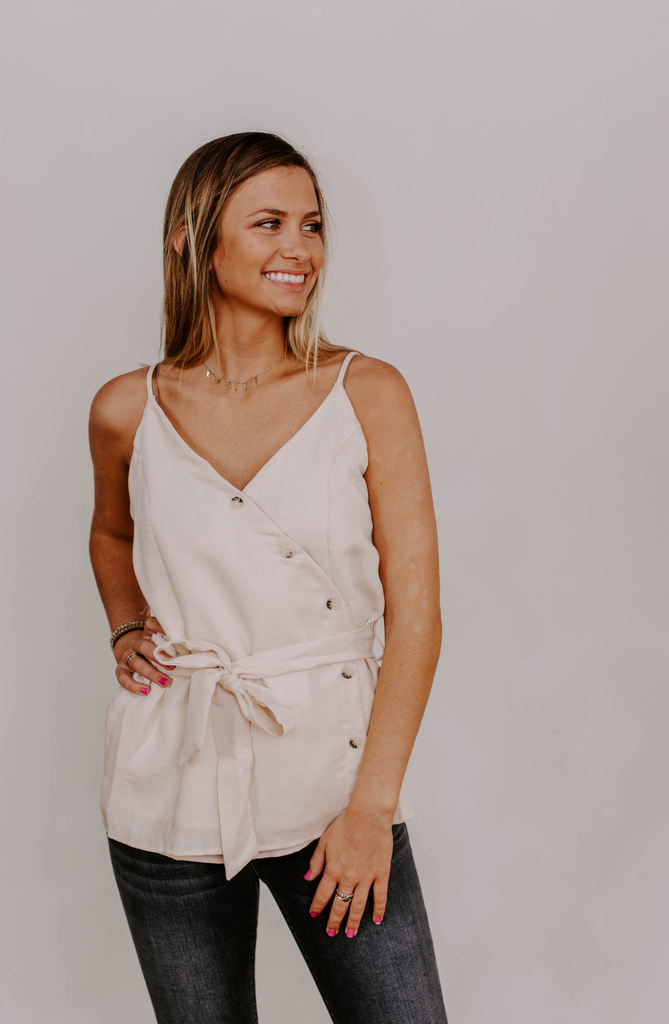 Wrap Button Down Top with Self Belt