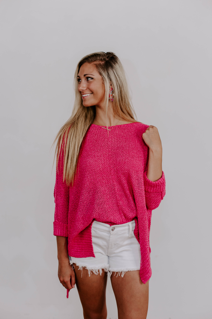 She & Sky High-Low Sweater with Folded Cuff