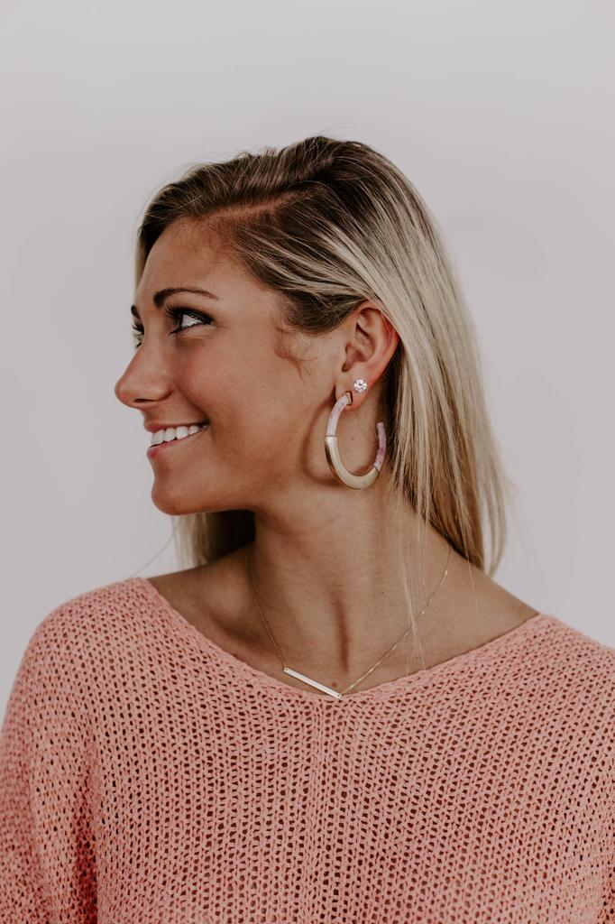 Bar Center Acrylic Hoop Earrings