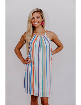 She & Sky Multi Striped Halter Dress