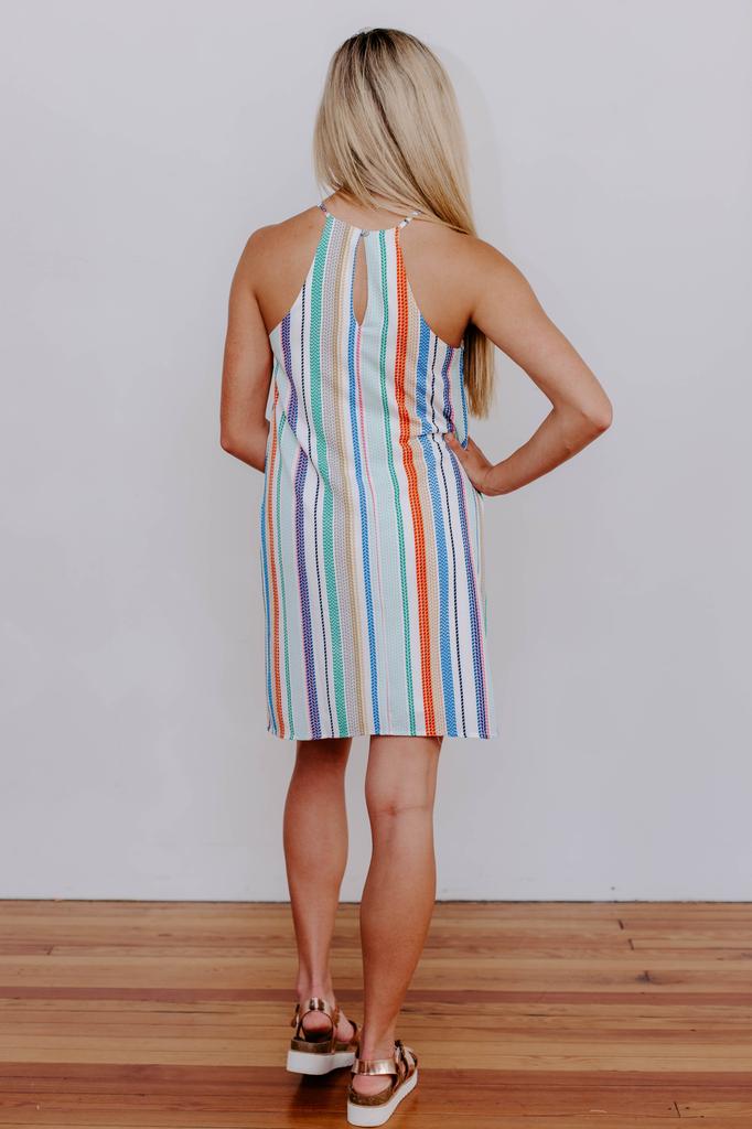 She & Sky Multi Striped Halter Dress
