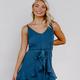 She & Sky Ruffled Hem Dress with Tie Sash at Waist