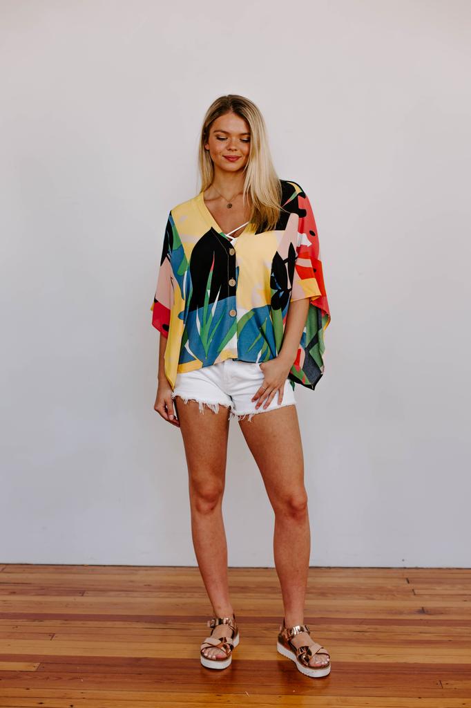 Karlie Palm Beach Button Dolman Top