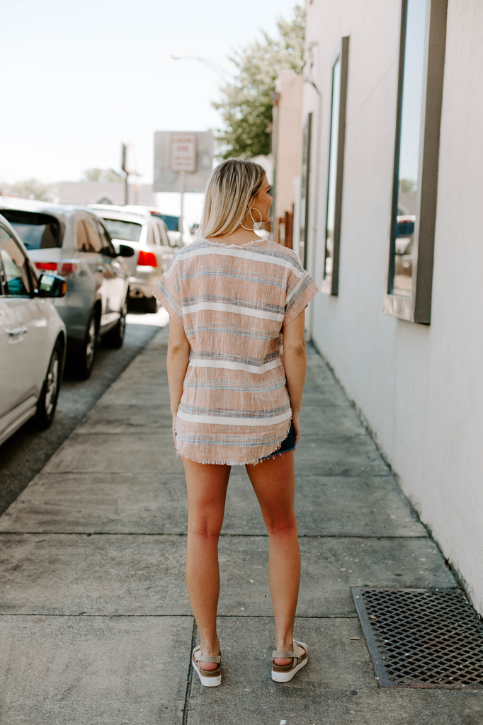 Linen Striped Top with Frayed Hem