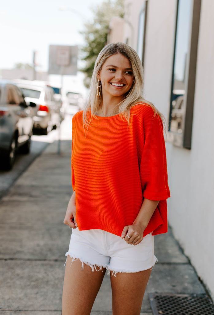 Cropped Knit Top with Wide Short Sleeve