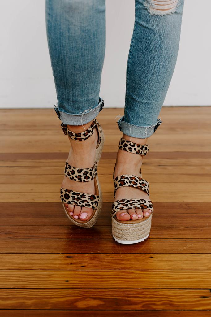 EMMA-25 Leopard Print Platform Espadrille Sandals