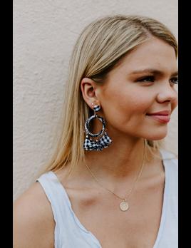 Gingham Tassel Earrings