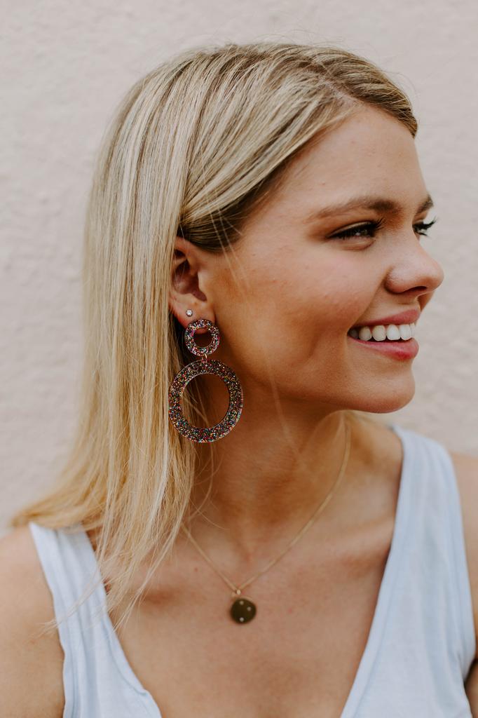 Glitter Double Circle Earrings