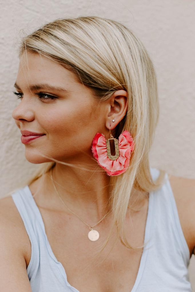 Fan Fabric Dangle Earrings