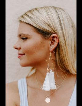 Textured Star Tassel Earrings