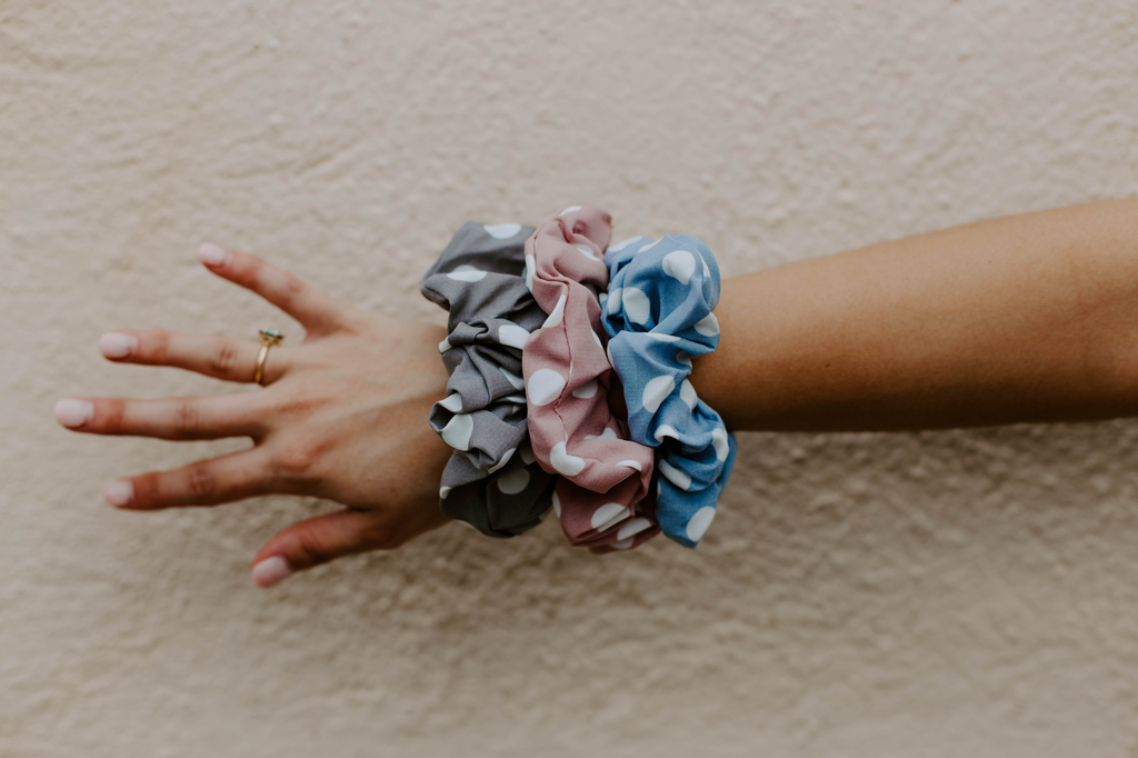 Polka Dot Print Scrunchie Set