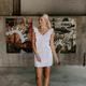 Karlie Solid Linen Ruffle Button Dress