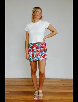 Karlie Floral Linen Tie Skort