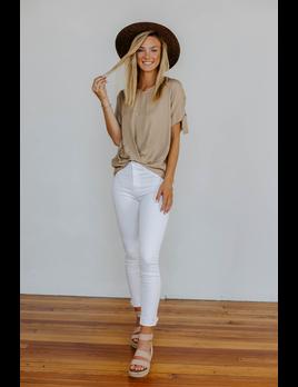 Karlie Solid Linen V-Neck Top