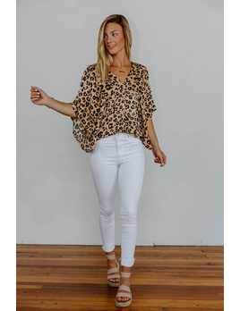 Karlie Leopard Button Dolman Sleeve Top