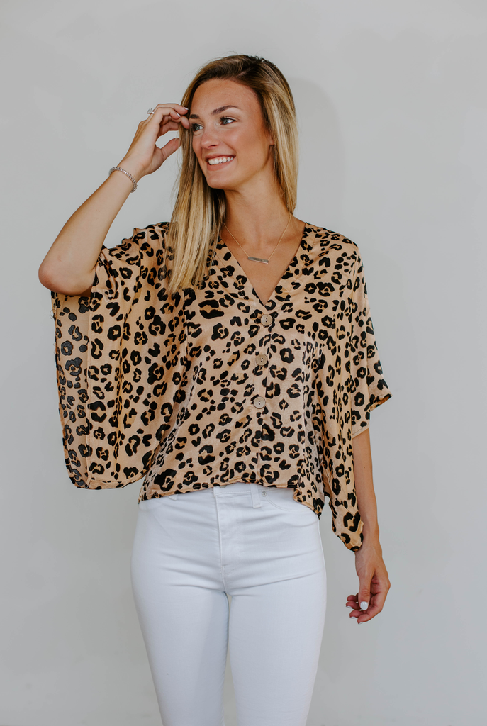 Karlie Leopard Button Dolman Sleeve Top