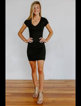 Karlie Knit Solid V-Neck Dress