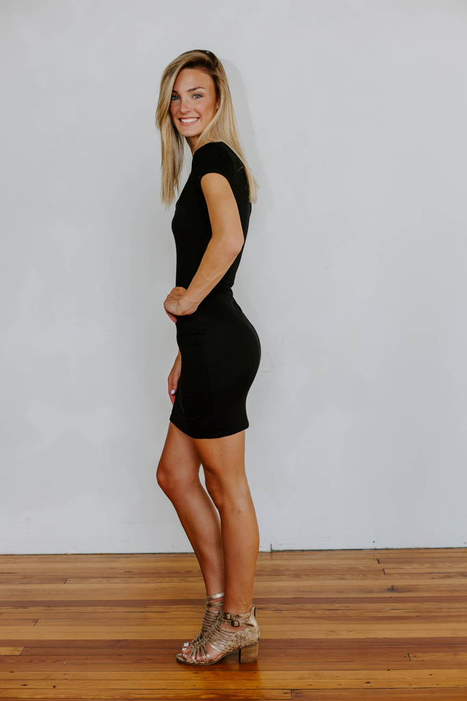 Karlie Knit Solid V-Neck Dress