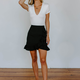 Karlie Solid Wrap Ruffle Skirt