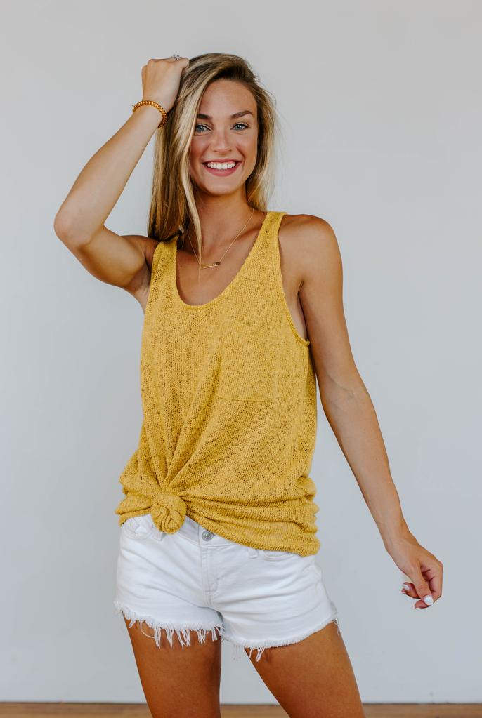 Karlie Sweater Knit Pocket Tank