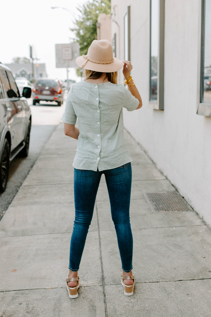 Short Sleeve Top with Button Back Detail
